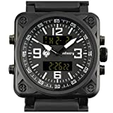 INFANTRY Mens Big Face Dual Display Tactical Military Sport Wrist Watch Multifunction Black Silicone Band