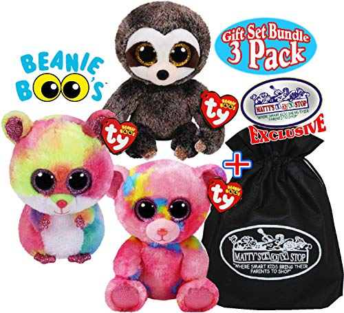 - Ty Beanie Boos Rodney (Multi-Color Hamster), Dangler (Sloth) & Franky (Multi-Color Bear) Gift Set Bundle with Bonus Matty's Toy Stop Storage Bag - 3 Pack