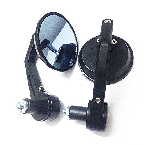 yibid negro espejos para extremo de manubrio de motocicleta lateral retrovisor 3' redondo para 7/20.3cm 22mm manubrio...