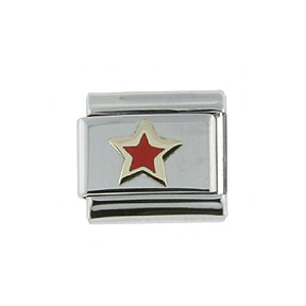 Stainless Steel 18k Gold Red Star Charm for Italian Charm Bracelets