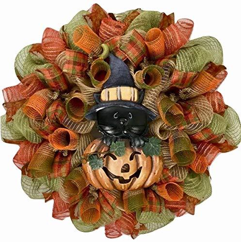 (Halloween Kitty Deco Mesh Wreath)