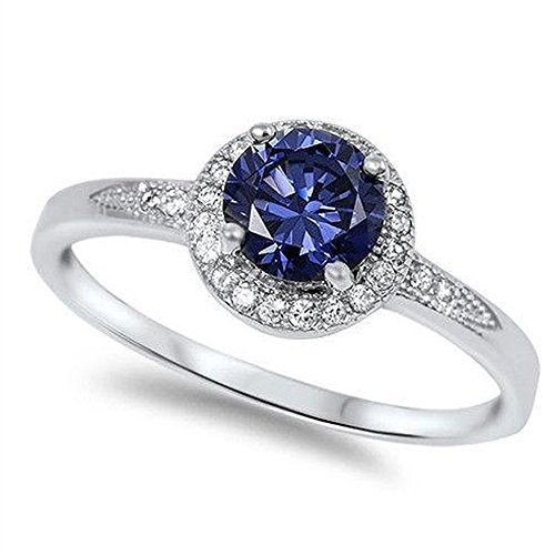 Halo Solitaire Simulated Tanzanite Promise Engagement Ring .925 Sterling Silver Ring Size - Silver Rings Tanzanite