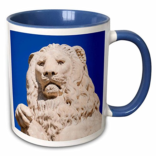 3dRose Danita Delimont - Italy - Marzocco lion, Piazza Santa Croce, UNESCO, Firenze, Tuscany, Italy - 15oz Two-Tone Blue Mug (mug_227640_11)