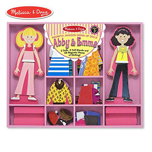 "Melissa & Doug Abby & Emma Magnetic Dress-Up Set, Wooden Dress-Up Dolls, Pretend Play, 2 Play Sets in One, 55+ Pieces, 1.25"" H x 11"" W x 14"" L from Melissa & Doug"