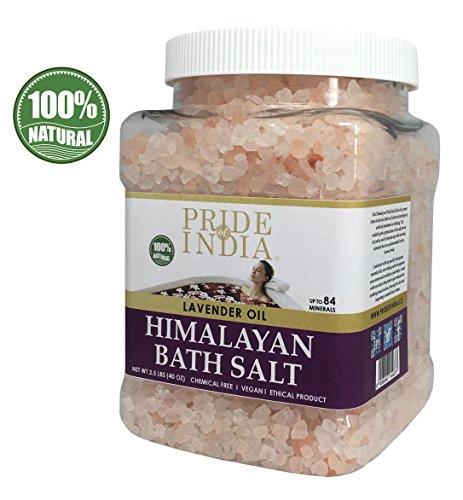 Pride Of India - Himalayan Pink Bathing Salt - Enriched w/ Lavender Oil and 84+ Natural Minerals, 2.5 Pound (40oz) Jar - Bath Salts, Bath Salts for Women and for Men, BUY 1 GET 50% OFF 2ND UNIT