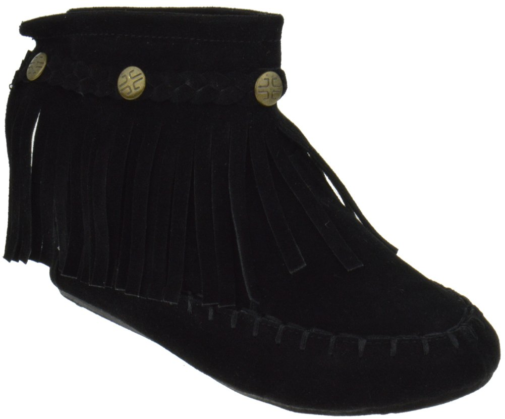 TG 01K Little Girls Ankle Moccasin Single Layer Fringe Boots Black 11