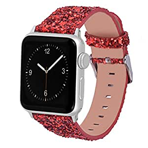 Glitter Apple watch band, Wolait Luxury PU Leather Wristband Replacement Strap for Apple Watch Series 3/2/1 (42mm Red)