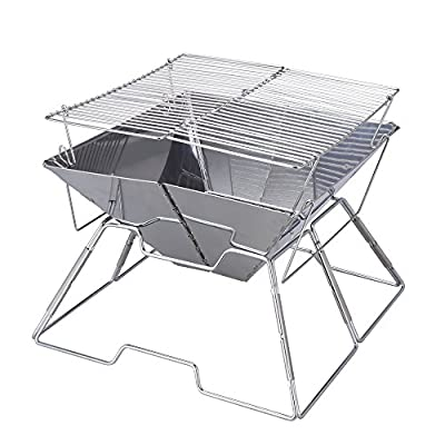 Magicook Portable BBQ Grill Charcoal Grill Stainless Steel Folding Grills for Outdoor Camp Garden Barbeque from Magicook