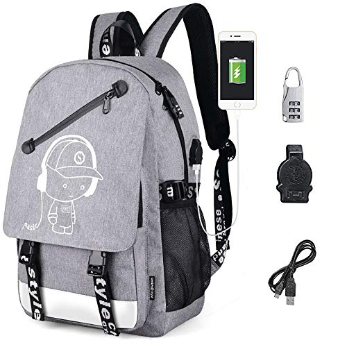 Sqoto Unisex Anime Luminous Backpack Oxford School Backpack, Travel Rucksack School Bookbags Boys Fashion Shoulder Travel Daypack Laptop Backpack (Grey)