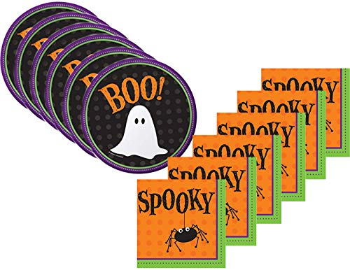 Halloween Desserts For Parties (Halloween Party Appetizer/Dessert Plates and Napkins Bundle for 80 Guests - Frightful)