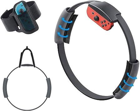 TTUTUO Correa para la Pierna y Agarre Ring-con para Ring Fit Adventure Nintendo Switch,Correa de muñeca elástica Ajustable Volante Antideslizante Accesorios Kits para Switch Joy-con Controller Game: Amazon.es: Electrónica