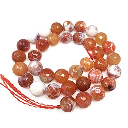Natural Faceted Red Fire Agate Gemsstone 10mm Round Loose Gems Stone Beads 15 Inch for Jewelry Craft Making GH4-10