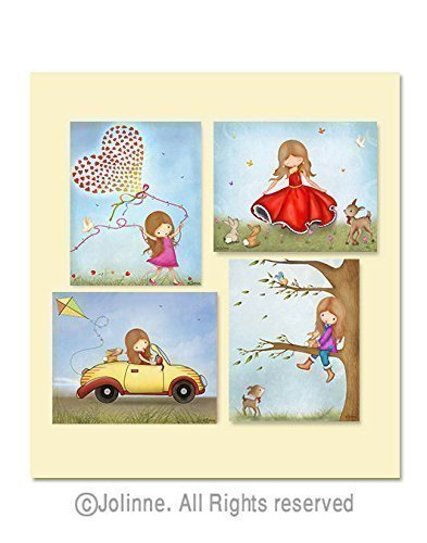 Pictures for Girls Bedroom Art Prints Nursery Illustrations Children's Room Decor 8x10/11x14 Set of 4 Custom Hair and Skin Color by Jolinne