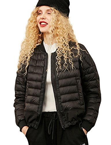Warm Giubbotto Ultraleggero Volo Bomber Nero Zip White Donna Elf Sack Da Duck Down 90 Classico tqEvOwH