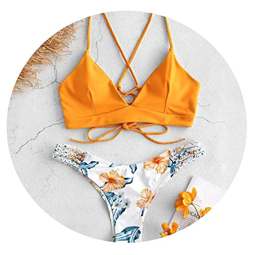 Zimmermann Bikini Nylon - Bikini Low Waisted Push-Up Two-Piece Sexy Pad Bandage Beachwear Brazilian Girls Flower Female Swimwear,B,L
