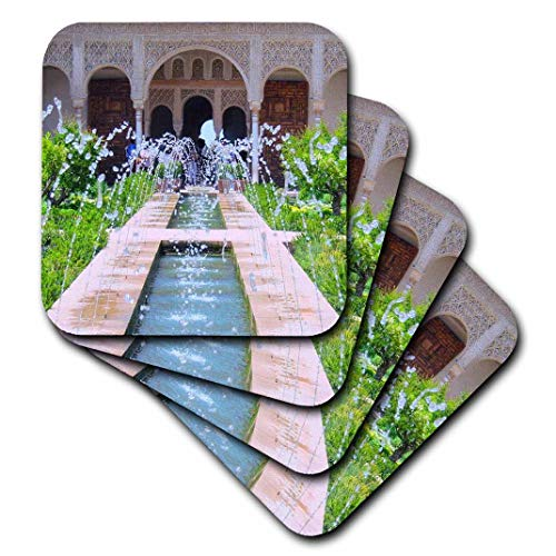 3dRose CST_112956_1 Water Fountains at Alhambra Palace Gardens in Grenada Spain Islamic Turkish Muslim Fretwork Arches Soft Coasters (Set of 4) ()
