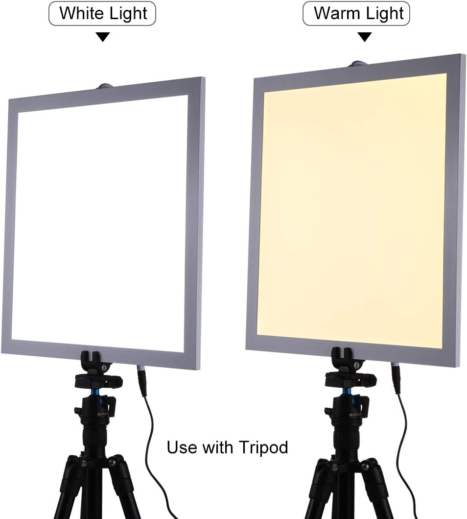 No Polar Dimming Light Color : Color3 Acrylic Material 34.7cm x 34.7cm Effective Area Durable CAOMING 1200LM LED Photography Shadowless Light Lamp Panel Pad with Switch