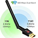 Anmier 600Mbps WiFi Adapter Dual Band 2.4G/5G Wireless Network Adapter 802.11ac USB Wifi Adapter for Desktop/Laptop/PC, Support Windows XP/Vista/7/8.1/10/Mac OS X 10.4-10.11