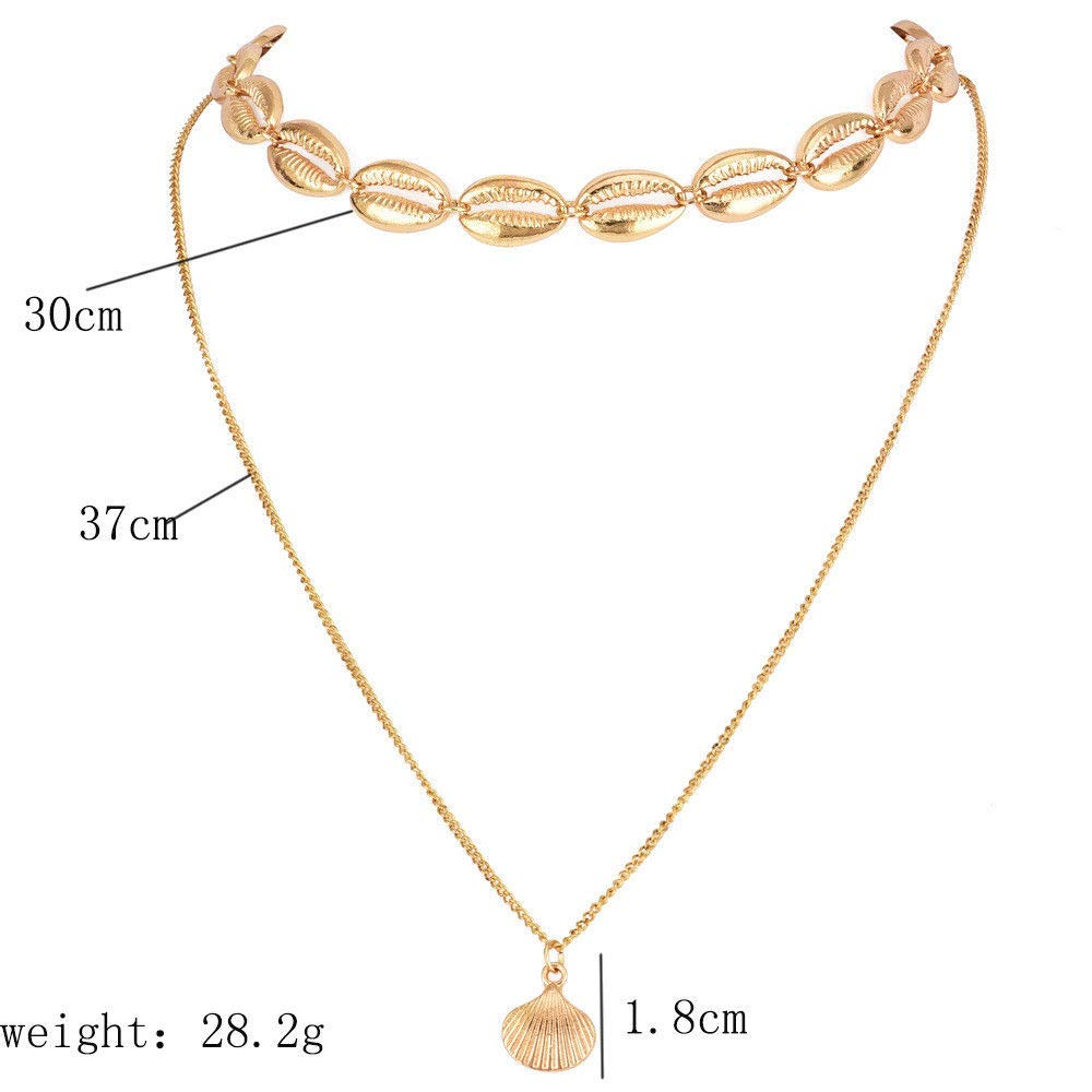 Amazon Com Women Boho Simple Gold Chain Shell Pendant Choker Necklace Fashion Party Jewelry Bright Stylish Cheap Aesthetic Womens Daily Best Comfy Wonderful Unique Style Beauty