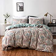 PinkMemory Queen Duvet Cover Floral Cotton Bedding Set Gray Flowers Branches Printing,Reversible Peach and Gra