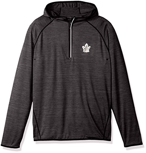 (Levelwear NHL Toronto Maple Leafs Men's Apex Insignia Bold Hooded Quarter Zip Mid-Layer Jacket, Small, Heather Charcoal)