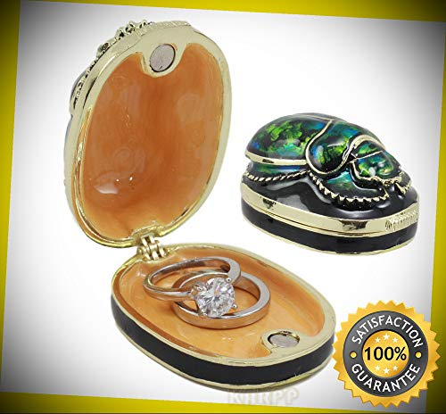 KARPP Ancient Egyptian Pewter Green Scarab Jewelry Box 2.25''Long Symbol of Rebirth Perfect Indoor Collectible Figurines