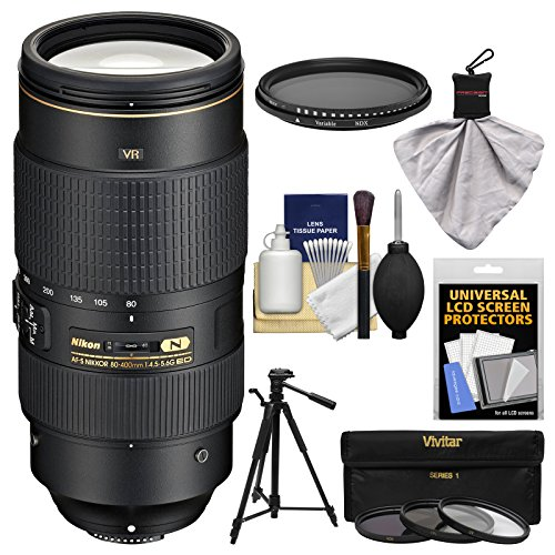 Nikon 80-400mm f/4.5-5.6G VR AF-S ED Nikkor-Zoom Lens with 3 UV/FLD/CPL Filters + Neutral Filter + Tripod + Kit for Digital SLR Cameras
