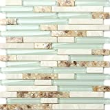 Beach Style Glass Tile Mother Of Pearl Shell Resin Kitchen Backsplash Green Lake White Stone Interlocking Art Tile TSTMGT084 (1 Sample [4'' x 12''])