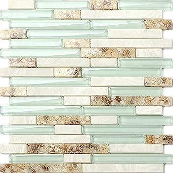 Beach Style Glass Tile Mother Of Pearl Shell Resin Kitchen Backsplash Green Lake White Stone Interlocking Art Tile TSTMGT084 (1 Sample [4'' x 12''])