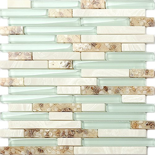Beach Style Glass Tile Mother of Pearl Shell Resin Kitchen Backsplash Green Lake White Stone Interlocking Art Tile TSTMGT084 (5 Square Feet)