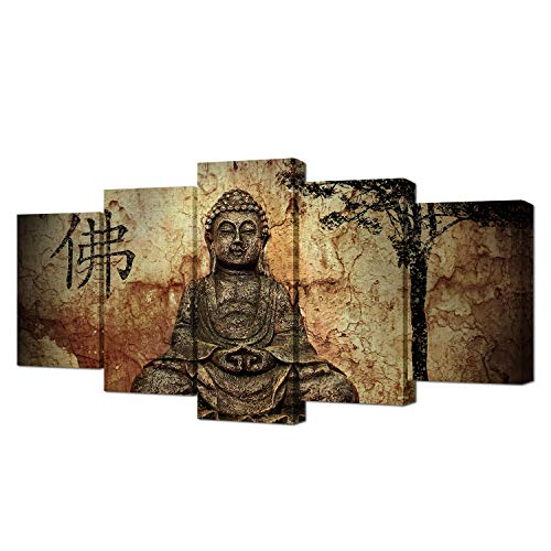 Piece Wall Art Peaceful Buddha Statue Modern Home Decorative Painting Canvas Print Picture Vintage Zen Poster Frame Wall Decor For Living Room ()