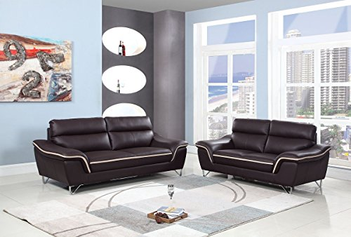 (Blackjack Furniture 168-BROWN-2PC The Bailey Collection 2-Piece Leather Living Room Sofa Set, Brown)