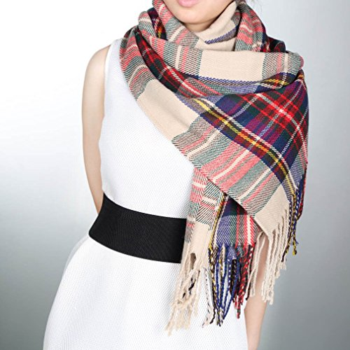 COMOTS Elegant Women Lady Tassels Blanket Oversized Tartan Scarf Plaid Checked Wrap Shawl Bloggers Favourite Best Gifts