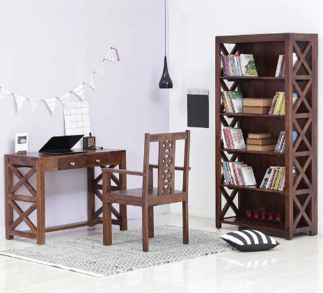 Shilpi Solid Wood X Factor Designer Study Laptop Table Included 2 Drawers With Chair Book Shelf Wardrobe