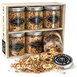 Oh! Nuts Gourmet Granola 6 Variety Gift Basket, Toasted Oats + Enhanced Protein Cereals, Christmas Breakfast Cereal Set, Holiday Valentines Day Energy Snack Gifts for Men & Women (Assortment Gift Box)