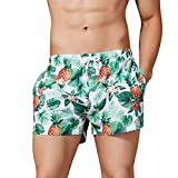 NUWFOR Fashion Men's Loose-Fitting Printed Pocket Elastic Waistband Beach Trousers(Green,US XS Waist:28.35-28.35'')