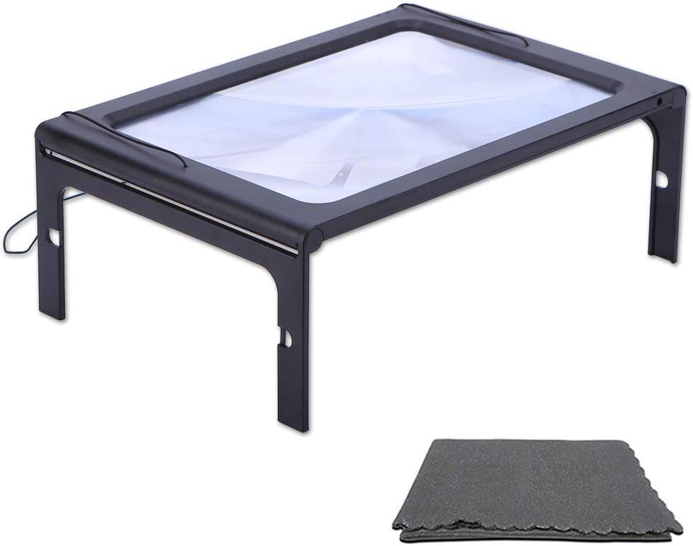 Large Magnifying Glass Hands-Free Full-Page 3X Magnifier LED Lighted Illuminated Foldable Desktop Portable for Elder Kids