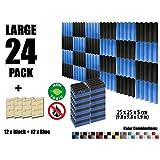 Arrowzoom New 24 Pieces of (25 X 25 X 5 cm) Soundproofing Insulation Wedge Acoustic Wall Foam Padding Studio Foam Tiles AZ1134 (Black & Blue)