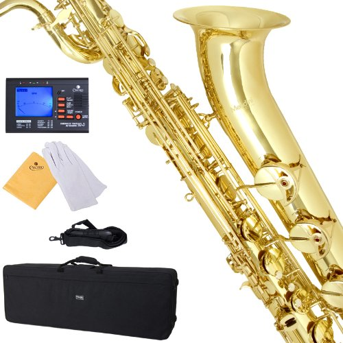 Mendini by Cecilio MBS-30L+92D Lacquer Yellow Brass Intermediate E Flat Baritone Saxophone with Tuner, Pro-Deluxe Case, Mouthpiece and Neck Strap by Mendini