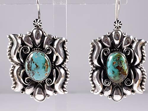 Navajo Sterling Silver Turquoise Mountain Turquoise Earrings By Derrick Gordon ()