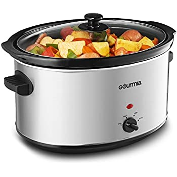 Gourmia PC850 8.5 Quart Oval Stainless Steel Slow Cooker with Auto Mode and Cool Touch Handles