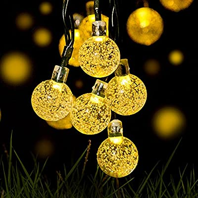 Y-ZONE Outdoor Solar Powered Crystal Ball String Lights 21ft 30 LED 8 Modes Warm White Waterproof Decorative Christmas Fairy Globe Lighting for Indoor Party Garden Tree Fence Patio Wedding Decoration