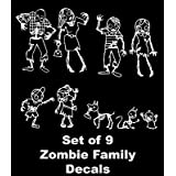 9 Piece Zombie Family Rear Car Window Sticker Decal