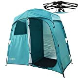 Quictent 2-Room Pop Up Automatic Rod Bracket Shower Tent/Changing/Toilet Room Shelter Outdoor Waterproof and Anti-UV with Carry Bag (Green)