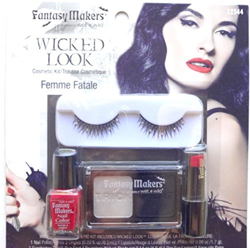 Cute Halloween Nails Ideas (Wet N Wild Femme Fatale Wicked Look Halloween Eyelash Makeup Set Kits (Femme Fatale) Idea for Make Up Artists Drag Queens Girls Best Back to School College Supplies)