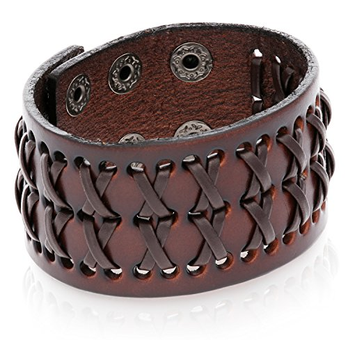Tribal Leather Wristband Brown Men's Uni-sex Adjustable Bracelet.