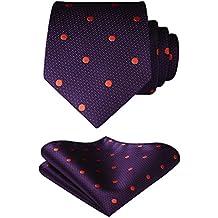 HISDERN Polka Dots Wedding Tie Handkerchief Woven Classic Men's Necktie & Pocket Square Set