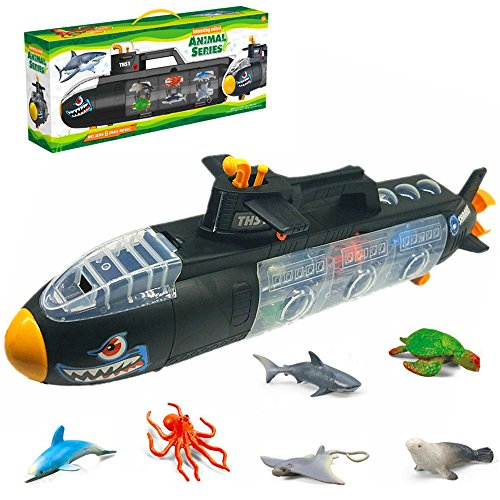 - KidzLand Steam Submarine sea Creature Bath Toy, All in one Submarine Toy ; 22 Inch Long Underwater Boat with Shark, Dolphin, Manta Ray, Octopus, Turtle, and Seal;Great Toy for Kids