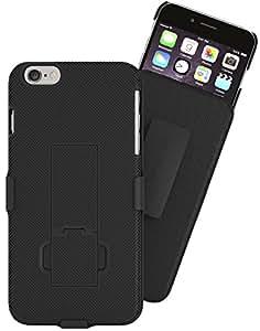 iPhone 5 5S SE Belt Clip Case: Stalion Secure Holster Shell & Kickstand Combo (Jet Black) 180° Degree Rotating Locking Swivel + Shockproof Protection