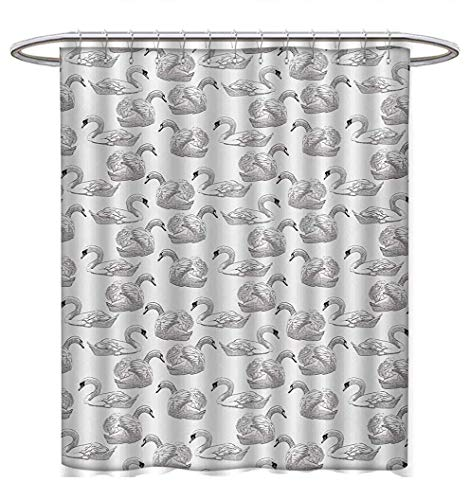 (YOLIKA Swan Shower Curtain Collection by Sketch Art Pattern of Swimming Waterfowls Symbols of Gentility Grace and Romance Satin Fabric Sets Bathroom W69 x L75 Black White)
